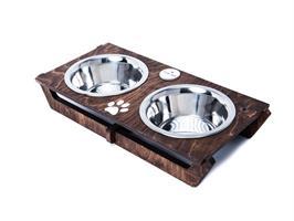 כלי אוכל ושתיה לכלב - שוטים M חום