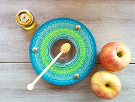 כלי לדבש ותפוחים מנדלה טורקיז Dvash_12