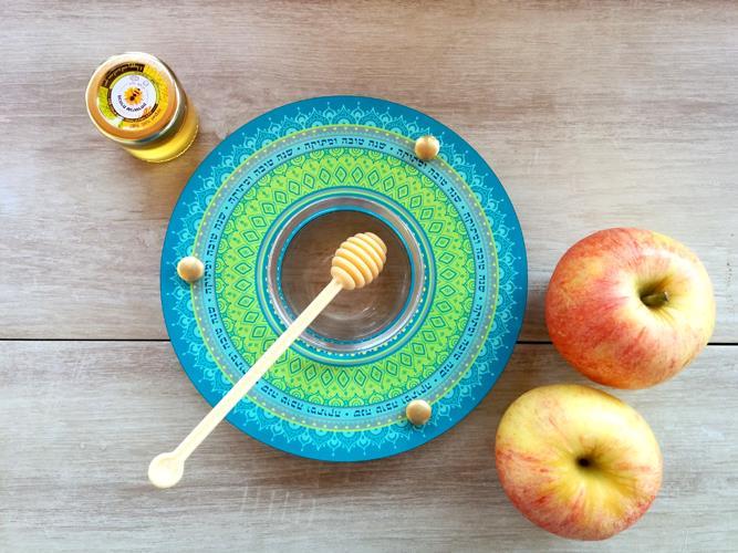 Shanabekef כלי לדבש ותפוחים מנדלה טורקיז Dvash_12