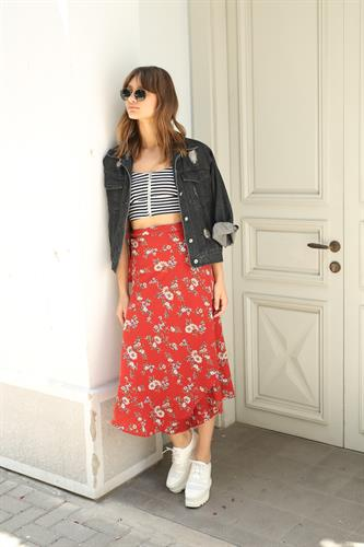 חצאית מעטפת פרח מלאני