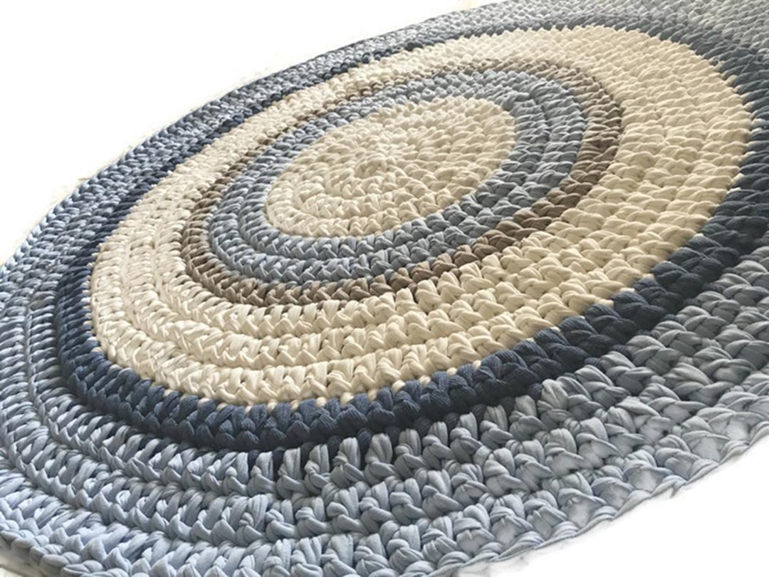 שטיח עגול, שטיח תכלת אפור, תכלת אפור, שטיחים, שטיחים סרוגים