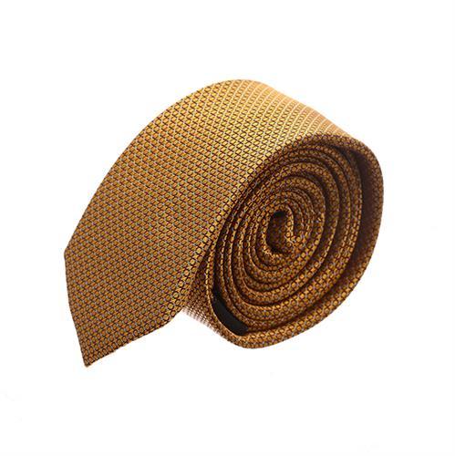 עניבה סלים מדוגמת כתום חרדל