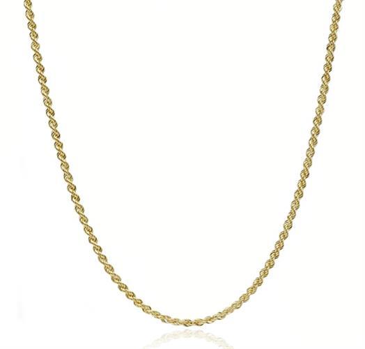 שרשרת זהב │ שרשרת חבל │ רוחב 2 ממ │ אורך 65 סמ