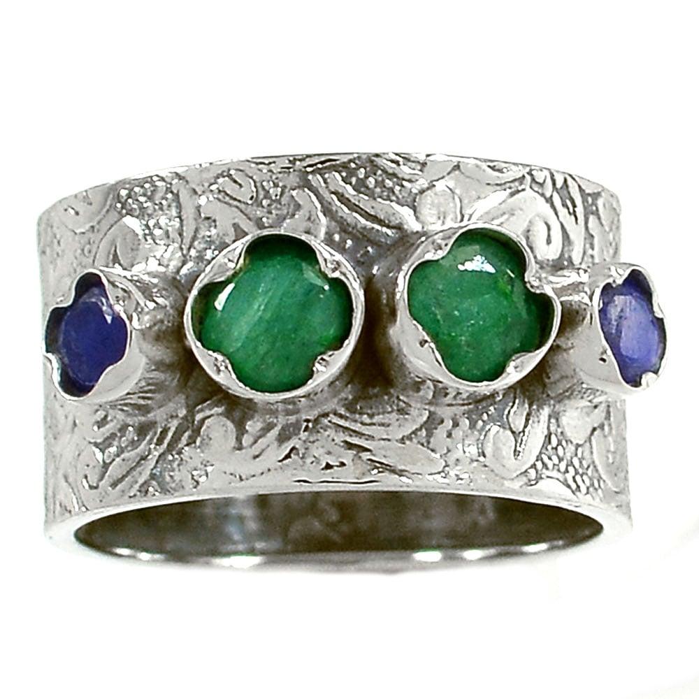 טבעת כסף רחבה משובצת אבני אמרלד וספיר  RG5738 | תכשיטי כסף 925 | טבעות כסף