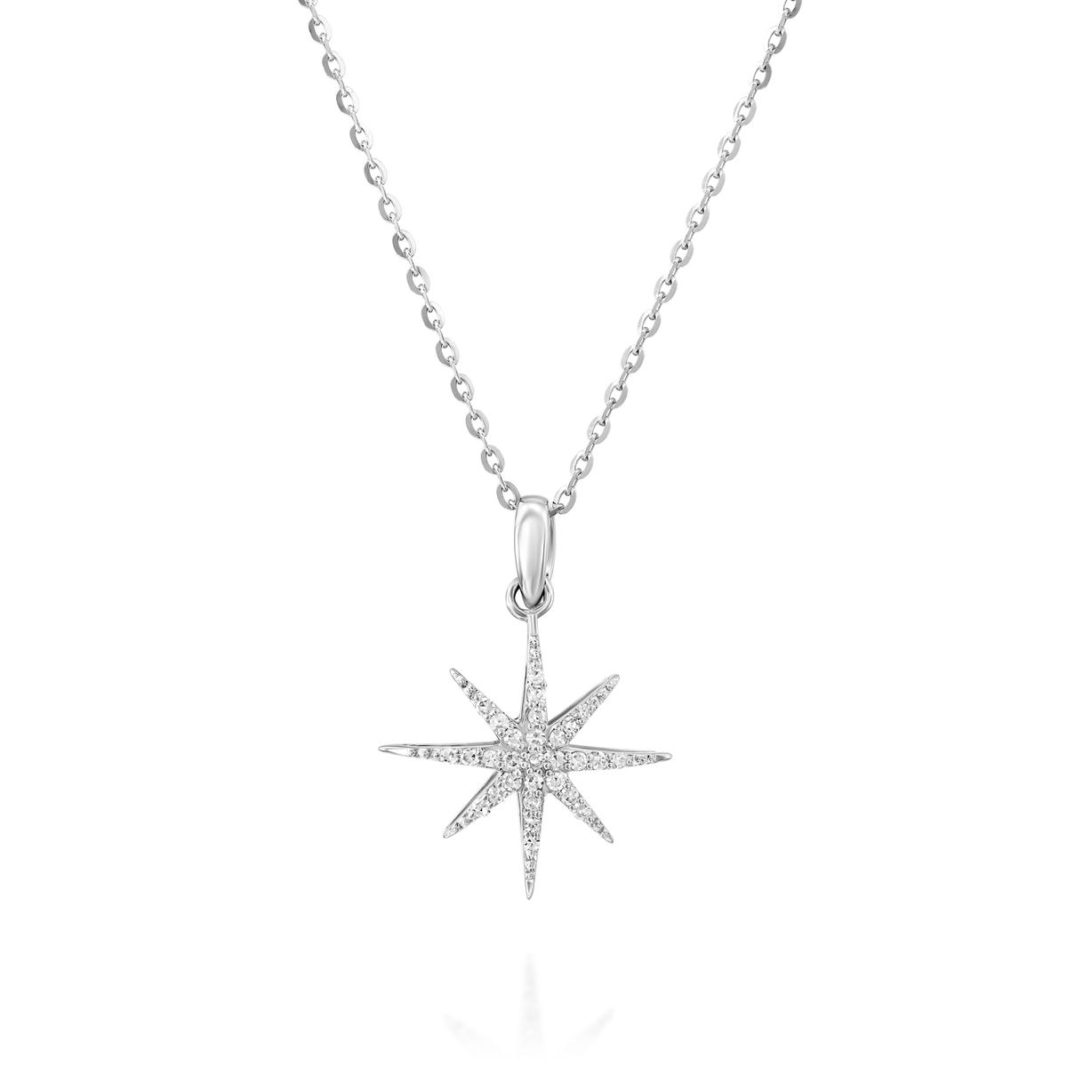 שרשרת ותליון כוכבי האושר משובץ יהלומים בזהב לבן או צהוב 14 קראט