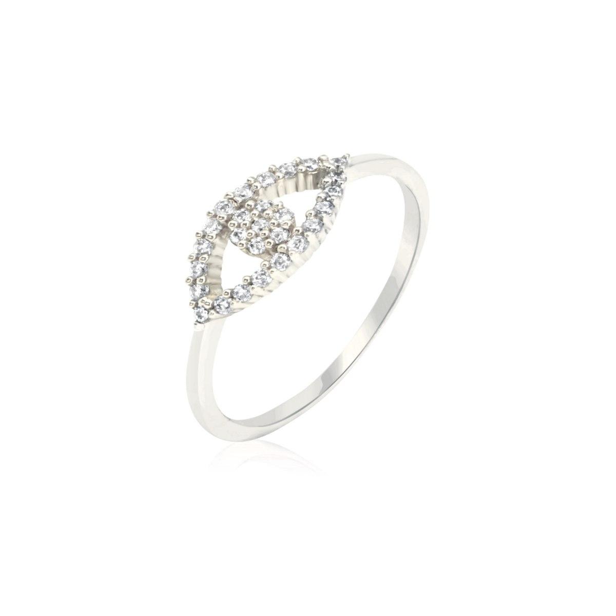טבעת זהב לבן עין הרע עם זרקונים