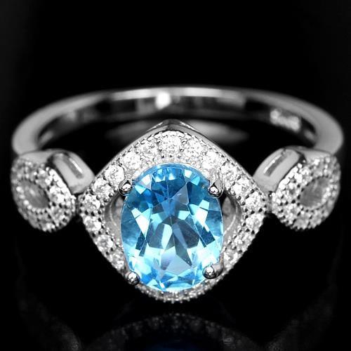 טבעת כסף משובצת טופז כחול וזרקונים RG1145 | תכשיטי כסף 925