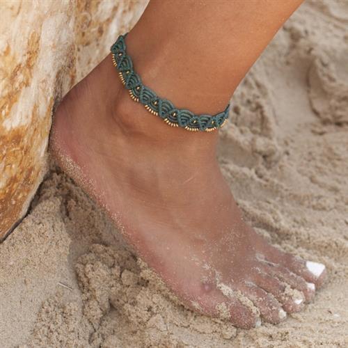 צמיד רגל מקרמה SIMPLE טורקיז ערב
