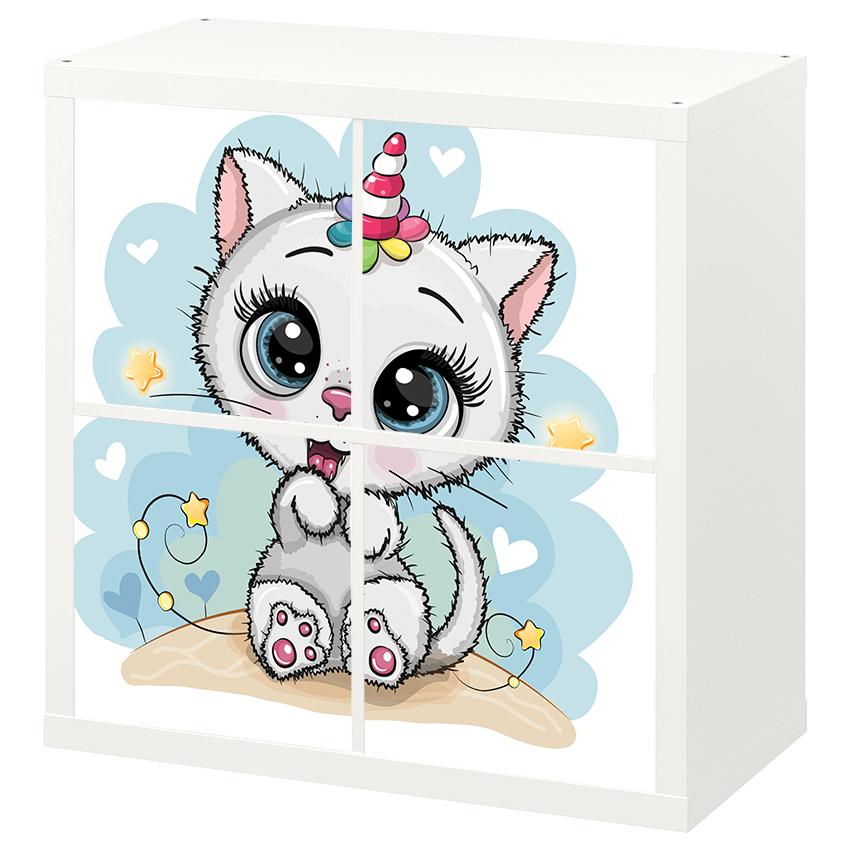 4 יח' טפט להדבקה על דלת כוורת (KALLAX)- חתולה עם קרן