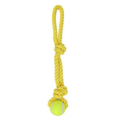 חבל 2 קשרים לולאה וכדור טניס לכלב