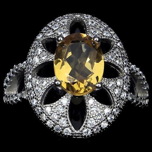 טבעת כסף משובצת סיטרין צהוב וזרקונים RG1207