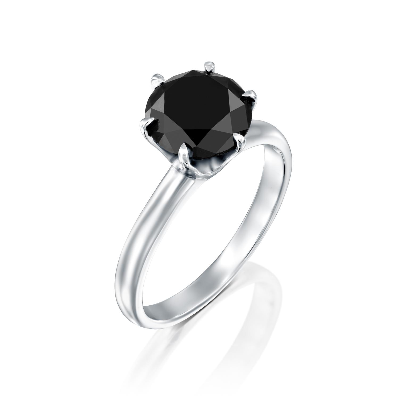 טבעת זהב לבן 14 קראט משובצת יהלום מרכזי שחור  BLACK ROCK