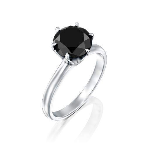 טבעת זהב לבן 18 קראט משובצת יהלום מרכזי שחור  BLACK ROCK