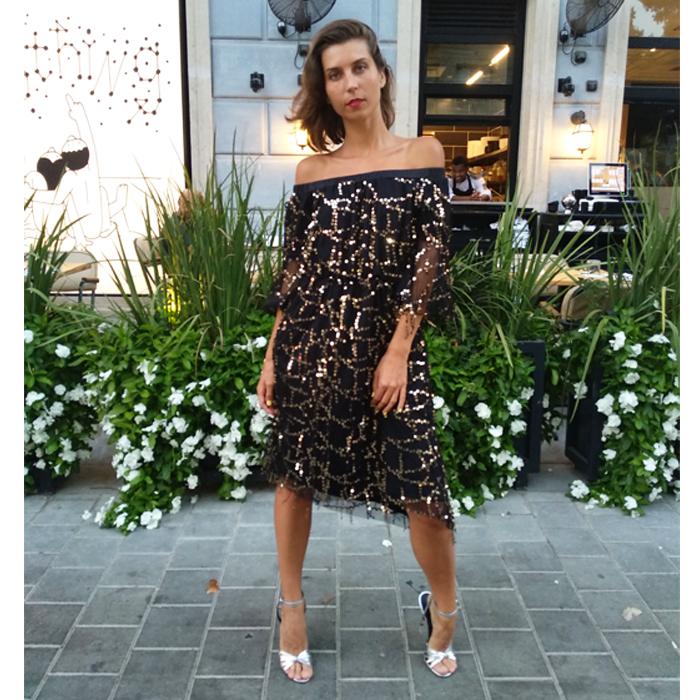 שמלת אשלי שחור פאייטים