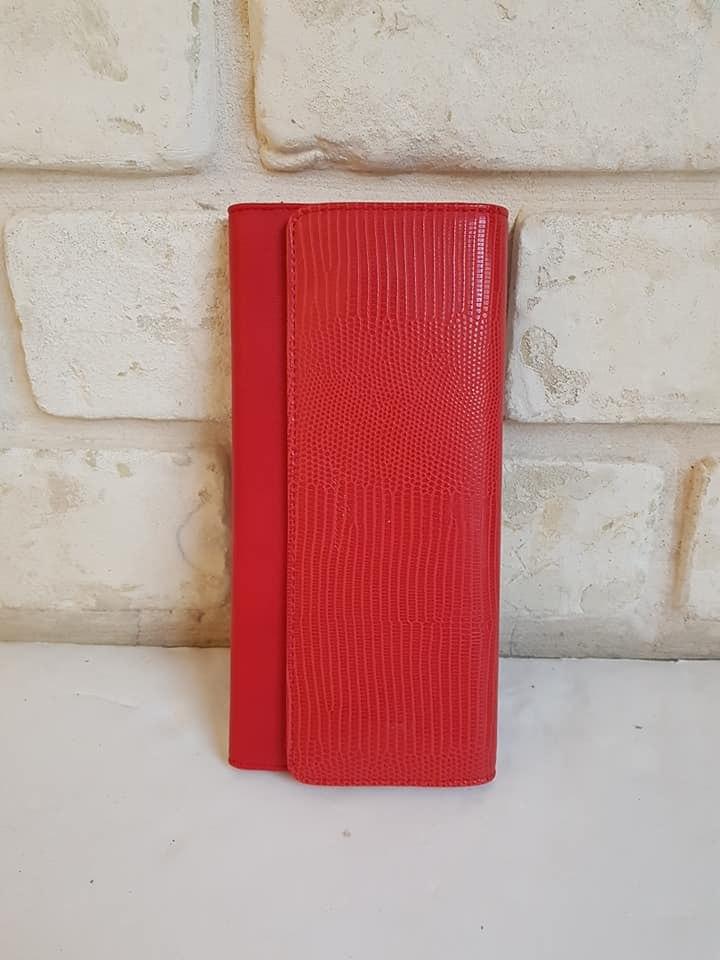 ארנק דמוי עור מאורך אדום 4060