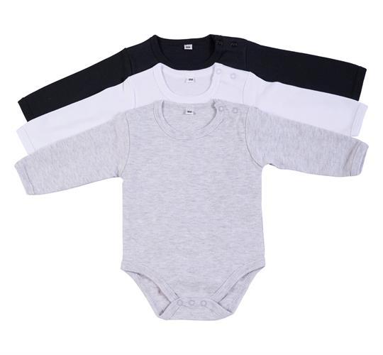 מארז 3 בגדי גוף 9100 שחור - לבן - אפור מלאנג' פלנל