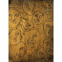פנים אבסטרקטי זהב שחור