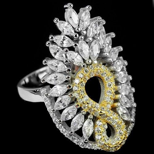 טבעת כסף משובצת אבני זרקון בצורת מרקיזה RG5669| תכשיטי כסף | טבעות כסף