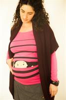 חולצת הריון תינוק מציץ מתוך פסים חולצת שרוול ארוך במחיר חולצה קצרה! מיוחד ל- Black Friday