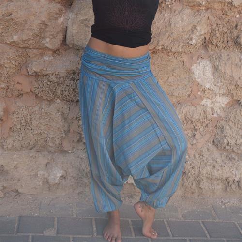 מכנסי אלאדין פסים תכלת מכותנה נפאלית