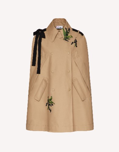 MAY LILY EMBROIDERED TRENCH CAPE WITH BOW DETAIL