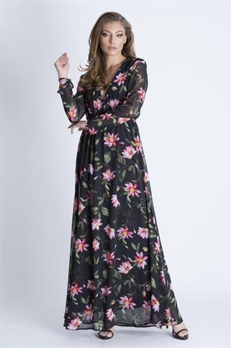 שמלת קארה פרחונית שחור