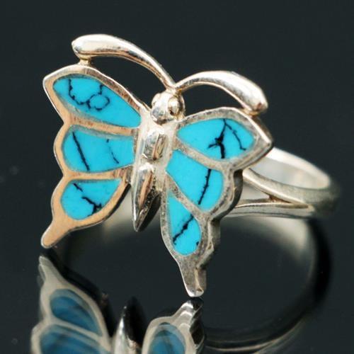 טבעת כסף פרפר משובצת טורקיז כחול RG9129