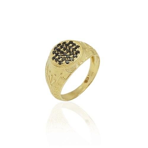 טבעת זהב לגבר מעוטרת יהלומים שחורים