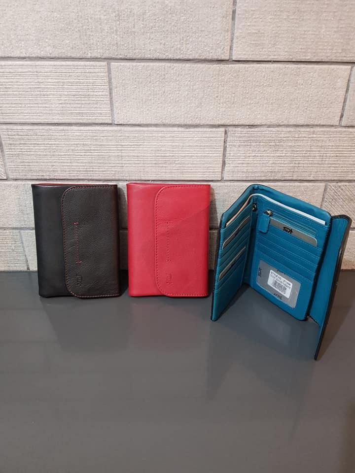 ארנק עור 6007 שחור, אדום