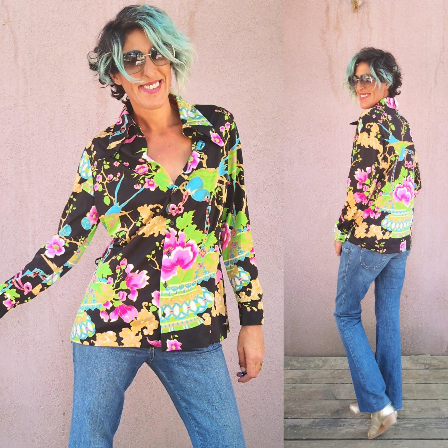 חולצת סבנטיז צבעונית ומרגשת מידה L