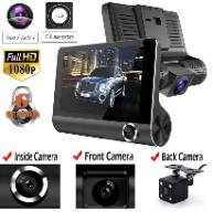 מצלמת רכב עם 3 מצלמות וצג 4 אינץ' באיכות FULL HD רזולציה 1080P בזווית 170 מעלות