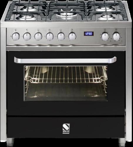 תנור בישול ואפיה משולב V9F-5 Steel דגם Vista 90 שחור