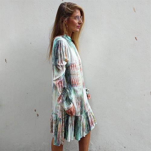 שמלת פלואו מנטה מודפס