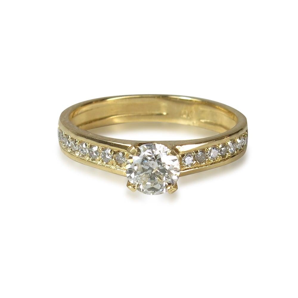טבעת אירוסין זהב לבן 0.50 קראט | טבעת אירוסין זהב צהוב 0.50 קראט