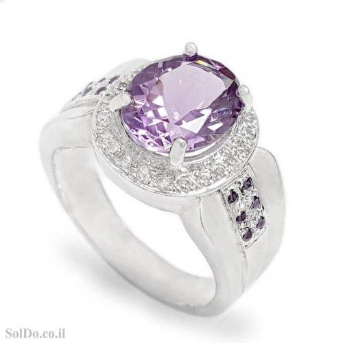 טבעת מכסף משובצת אבני אמטיסט RG6294   תכשיטי כסף 925   טבעות כסף