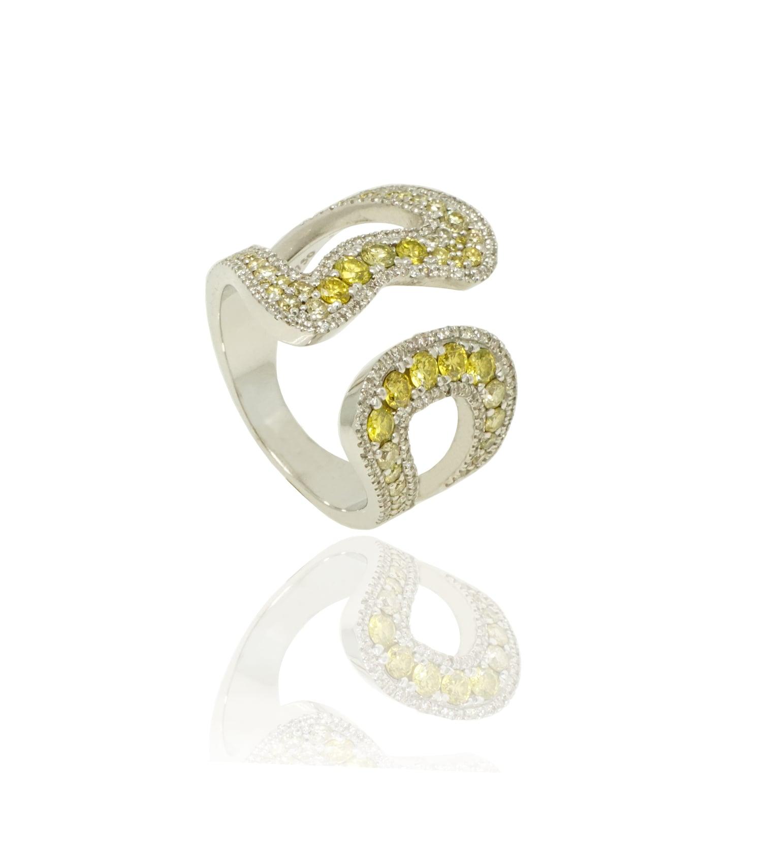 """טבעת """"אמיליה"""" פתוחה זהב 18K יהלומים לבנים וצהובים"""