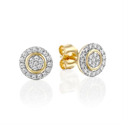 עגילי יהלומי האינסוף משובצים יהלומים בזהב צהוב 14 קראט