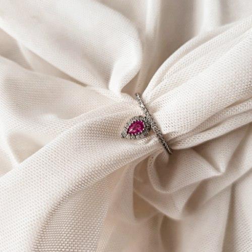 טבעת טיפה כסף- ורוד