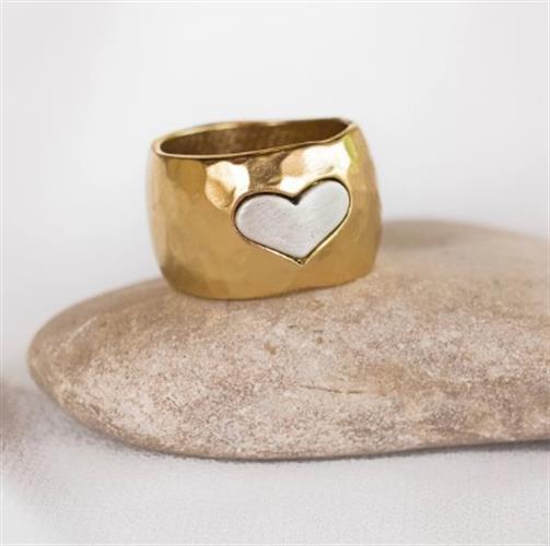 טבעת חותם - לב בציפוי שונה