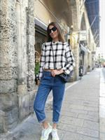 checked tweed top