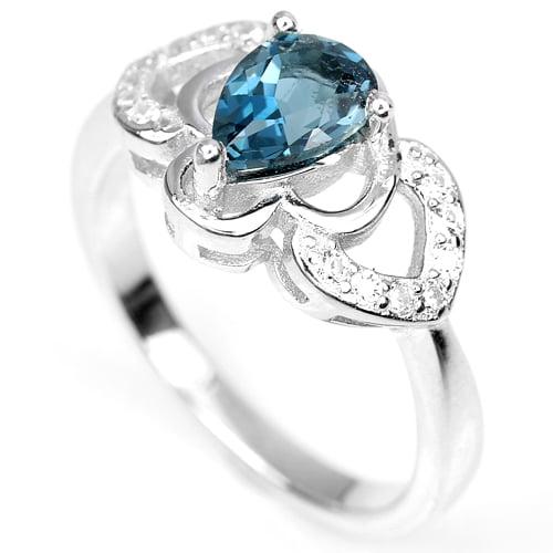 טבעת כסף משובצת טופז כחול וזרקונים RG7034   תכשיטי כסף 925