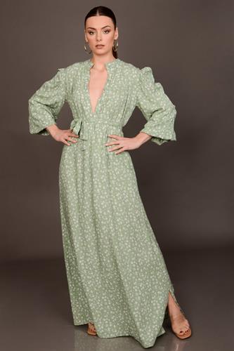 שמלת לילוש ירוק פרחוני