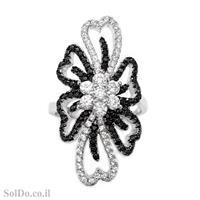 טבעת מכסף משובצת אבני זרקון שחורות ולבנות RG6154 | תכשיטי כסף | טבעות כסף