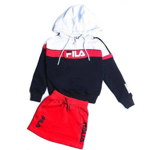 חליפת חצאית קפוצ׳ון לבן/שחור/אדום FILA - מידות 6-16