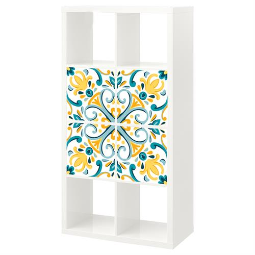 4 יח' טפט להדבקה על דלת כוורת (KALLAX)- דמוי אריח מצוייר