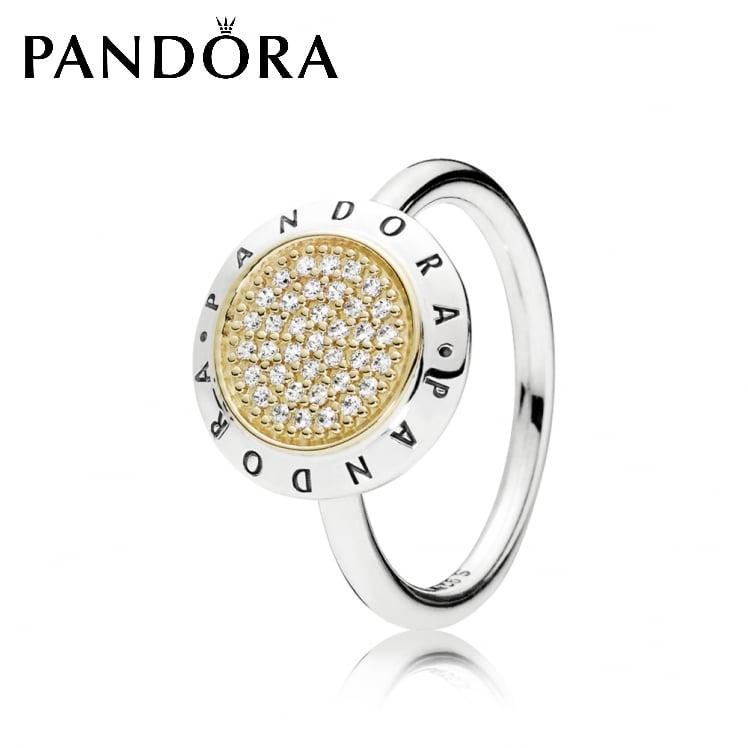 טבעת כסף חתימה PANDORA בשילוב זהב