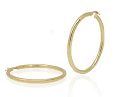 עגילי חישוק זהב צהוב גדולים מלאים נוכחות 6.6 סמ