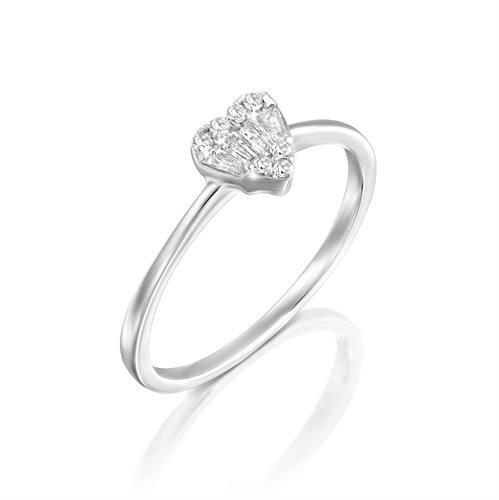 טבעת מגע היהלום משובצת יהלומים בזהב לבן או צהוב 14 קראט