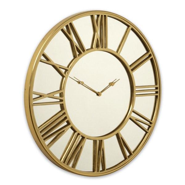 שעון קיר BRASSGOLD בשילוב מראה מגיע בצבע:זהב  מידות:76X76