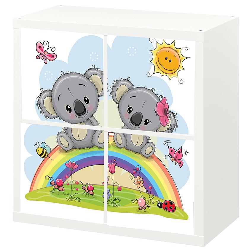 4 יח' טפט להדבקה על דלת כוורת (KALLAX)- שני דובים על קשת